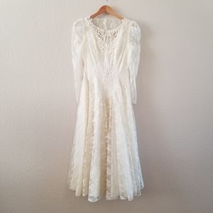 Vtg 80's HW Collections Ivory Lace Wedding Dress
